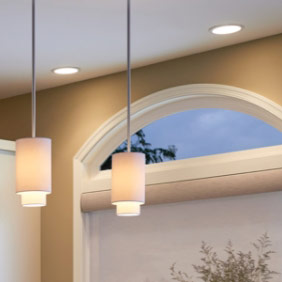 Ceiling lights demonstrating different bulbs