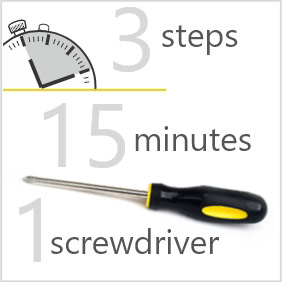 Easy to install, 3 steps, 15 minute and 1 screwdriver