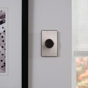 Stainless steel Dalia Dimmer with black knob on wall
