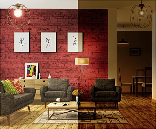 Split Image showing how a dimmer effects the room. Red wall with white paintings in the background with black chairs and a wood coffee table in the foreground.