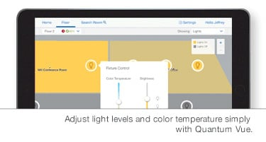 Person reviewing cost savings provided by lutron right environment lighting controls
