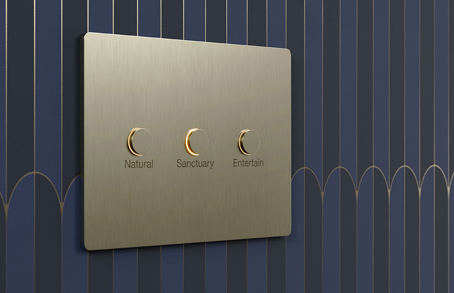 Custom Alisse keypad with engraving mounted on Art Deco wall