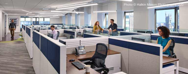 Open floor plan office with Vive wireless lighting system