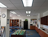 Common areas use wireless occupancy sensors to reduce lighting energy use