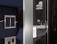 Guests can then dim lights up and down, and control the bathroom lights separately.