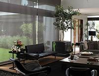Sala de la residencia con persianas Sivoia QS, México D.F., Méxio