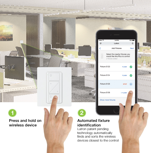 lutron's patent pending rf signal strength detection automatically finds  nearby devices making job setup faster
